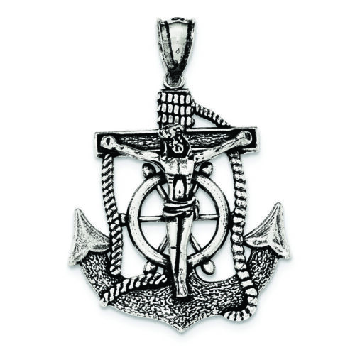 .925 Sterling Silver Antiqued Mariner Cross Charm Pendant MSRP $104