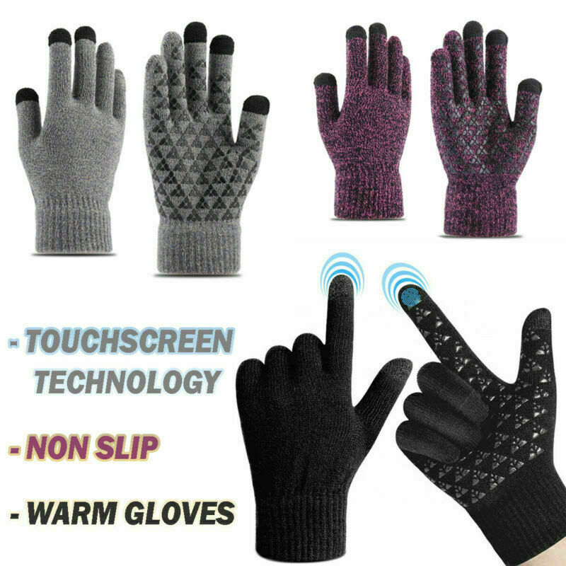 Unisex Snow Gloves Touch Screen Windproof Warmer Thicken Knitted Thermal Mittens
