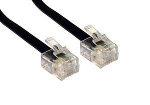 7.5m RJ11 To RJ11 Cable Lead 4 Pin ADSL DSL Router Modem Phone 6p4c BLACK Long