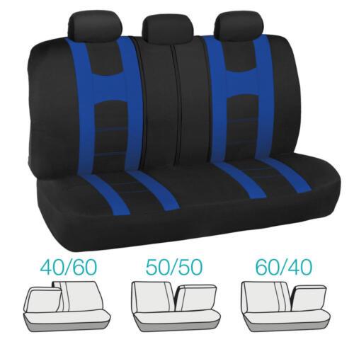 Black Blue Two Tone Seat Covers /& Heavy Duty Blue Vinyl Floor Mats Full Set 13pc