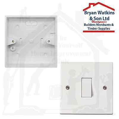 1 Gang 2 Way Architrave 10 Amp Slimline Light Switch and Back box pattress