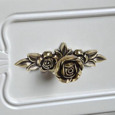 Vintage Rose Flower Pull Cabinet Door Dresser Bin Furniture Hardware Handle