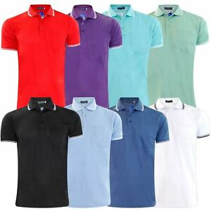 Mens-T-Shirts-PK-Polo-Shirt-Pique-Pocket-Poly-Cotton-Top-Multi-Color-Sizes-M-2XL