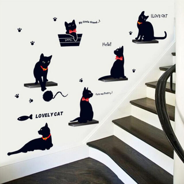 DIY Removable Cartoon 6 Black Cats Wall Stickers Decal Home Decor PVC Art Mural