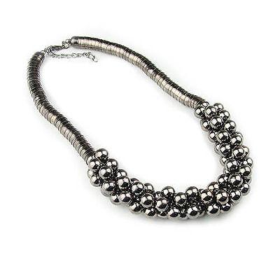 Fashion Multilayer Silver Black Beads Pendant Bib Collar Statement Necklace