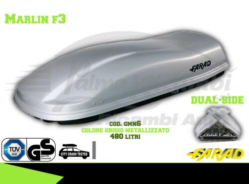 GMN6 BAULE BOX PORTAPACCHI AUTO FARAD MARLIN F3 480LT GRIGIO METALLIZZATO