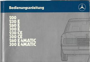 MERCEDES-E-KLASSE-C124-Coupe-Betriebsanleitung-1987-Bedienungsanleitung-BA