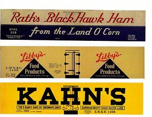 Three-HO-scale-boxcars-RATH-039-S-Libby-039-s-KAHN-039-S-printed-reefer-sides