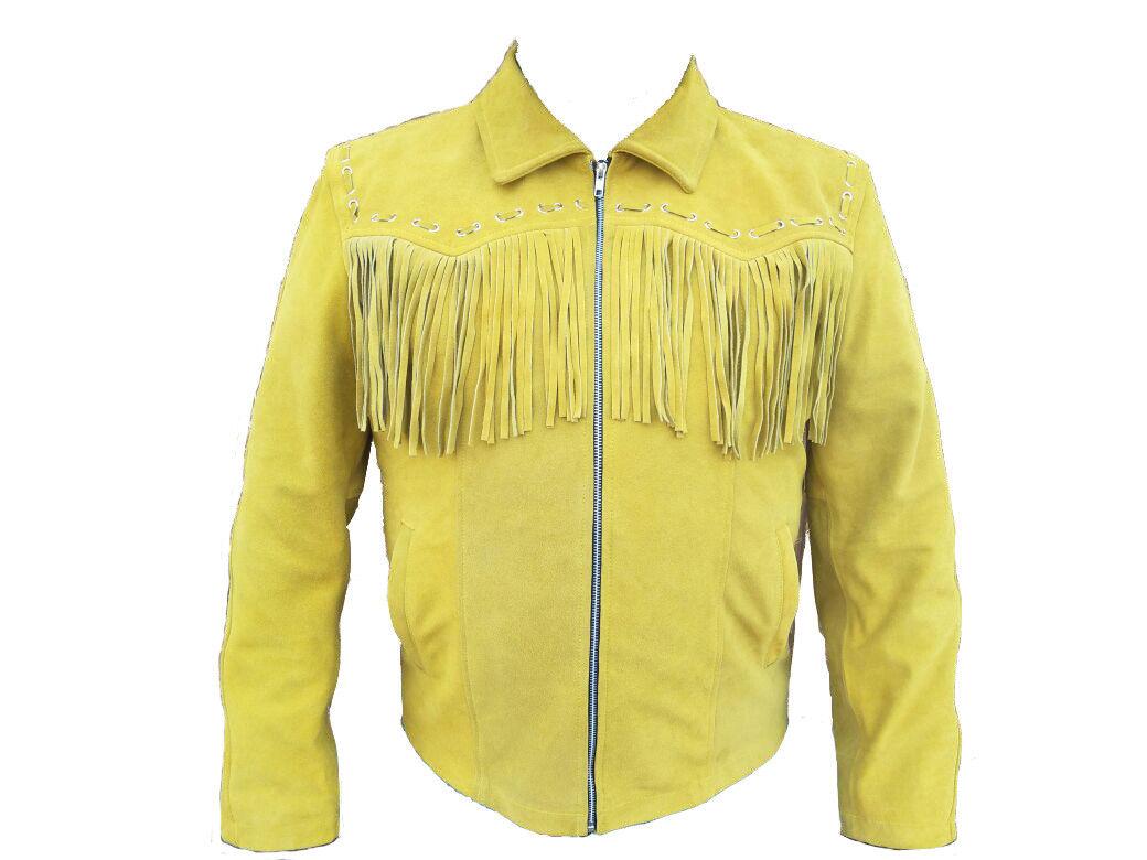 Herren Western Wear Suede Leder Cowboy Style Fringe American Leder Coat