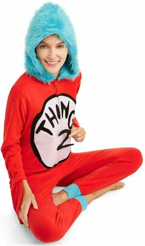 Details about  /Dr Seuss Union Suit Thing 1 Thing 2 PJs Pajama Costume Cosplay Mens Womens M