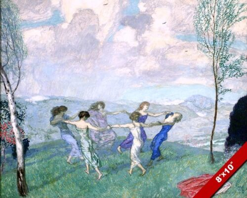WOMEN DANCING HOLDING HANDS IN CIRCLE IN MEADOW PAINTING ART REAL CANVAS PRINT