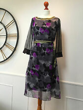 TED BAKER  RARE black / grey / purple floral  rose print dress size 2  UK 10