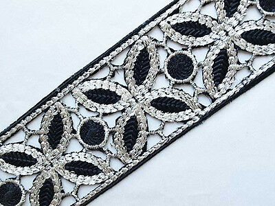 Embroidered, Iron-On Trim. 1½ Yards. Black and Silver