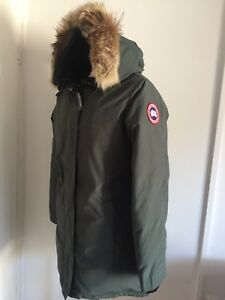 New Women s Canada Goose Victoria Slate Green Parka Coat Size L UK ... ea83cb34e8