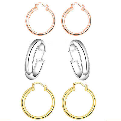 c0cbde7049661 Ladies 10k Yellow Gold Scalloped Textured Hinged Post Hoop Earrings 34mm |  eBay