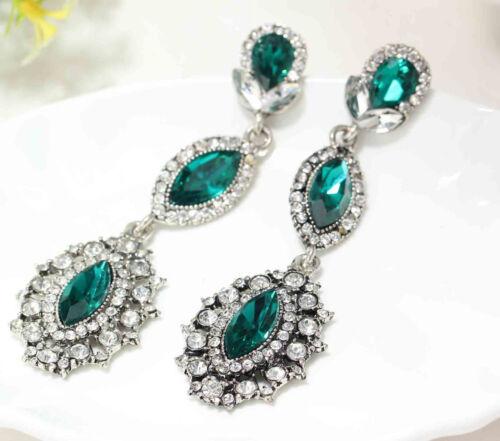 Fashion Handmade coloré cristal Strass Ear Stud long 77 mm Boucles d/'oreilles 2 Type