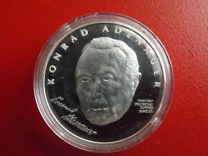 * Bundeskanzler Konrad Adenauer * Silbermedaille Pp (999) *ca.20g.(kof3) Reine WeißE