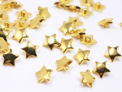 Gold Star Tige Boutons Brillant Étoile Enfants acrylonitrile butadiène styrène Golden Pull 15 mm 20pcs