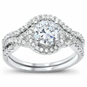 Round-Solitaire-Engagement-Twisted-Prong-925-Sterling-Silver-Wedding-Set