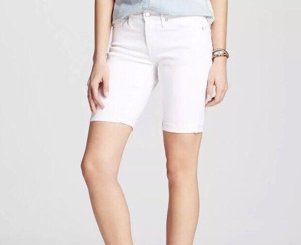 Size Mossimo Women/'s Mid Rise Bermuda Denim Jean Shorts Dark Wash 00