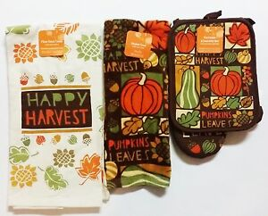 Fall-THANKSGIVING-Kitchen-Towel-Set-HAPPY-HARVEST-3-PACK-OVEN-MITT-FAST-SHIP