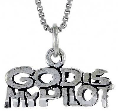 Sterling Silver Girls .8mm Box Chain PRAY Word Pendant Necklace