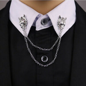 Dragon-Head-Blouse-Shirt-Collar-Neck-Tip-Brooch-Pin-Lapel-amp-Chain-Tassel-Clip-S