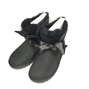 b05bfa18b81 Details about UGG GITA BOW MINI BLACK TWINFACE SHEEPSKIN WOMEN'S BOOTS SIZE  US 9