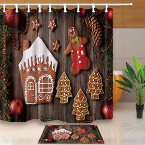 Image Is Loading Cute Gingerbread Man Curtain Shower Bathroom Waterproof Fabric