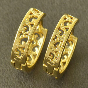 10K-Yellow-Gold-Filled-GF-Small-Hoop-Pattern-Earrings-11mm-ID-3-5mm-Wide