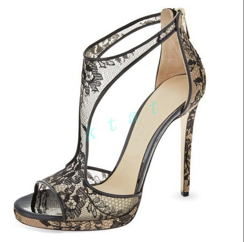 Fashion donna Stilettos Peep Toe nero High Heels T Strappy Sandals scarpe Lace