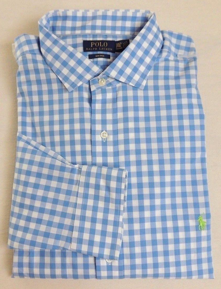 9cf7b0ef Ralph Lauren Polo Pony Long SL Gingham Plaid Non-Iron Spread Dress Classic  Shirt nnctqr1605-Casual Button-Down Shirts