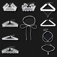 10Stk Damen Weiß Velvet Spitze Halsband Halskette Halsschmuck Choker Barock