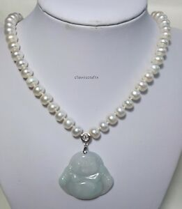 Grade-A-Jadeite-pendant-silver-freshwater-pearl-8-9mm-necklace-earing-L47-WHT