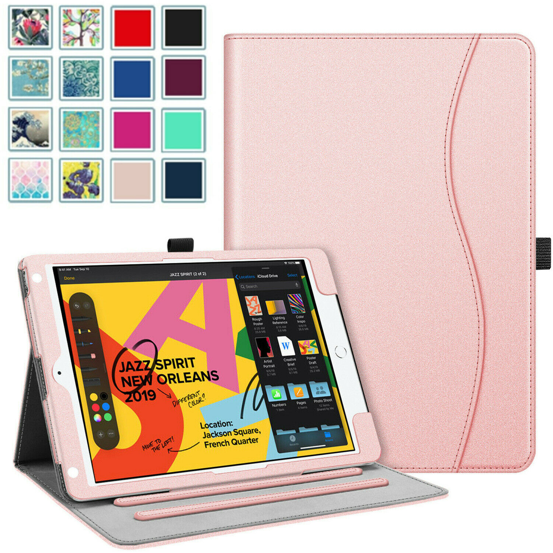 For iPad 10.2 8th Gen 2020 Case Multi-Angle Stand Cover w/Po