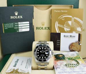 ROLEX Mens Stainless Steel SUBMARINER Black CERAMIC Box & Card 116610 SANT BLANC