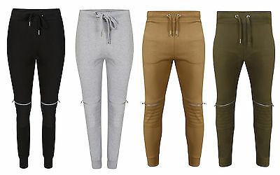 Offen Boys Mens Biker Zip Padded Joggers Quilted Fleece Slim Fit Cuffed Bottom Trouser