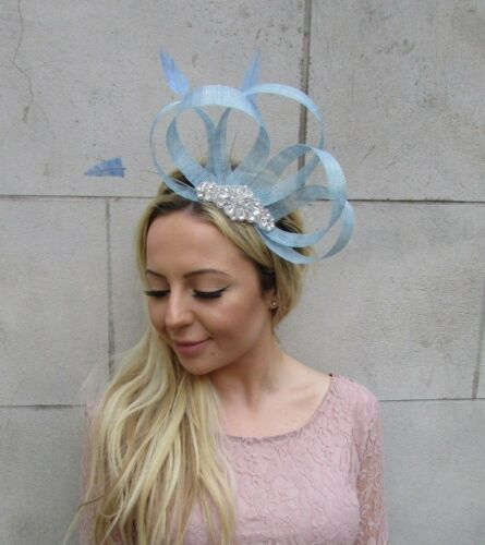 Cornflower Light Blue Silver Ivory Diamante Sinamay Feather Hair Fascinator 6109