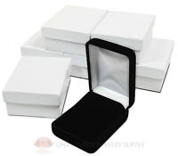 6 Piece Black Velvet Necklace Earrings Jewelry Gift Boxes 2 1/4 X 3 X 1 1/4h