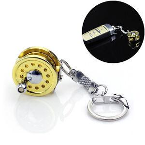 Cool-Fly-Fishing-Reel-Miniature-Novelty-Gift-Charm-diameter-25-mm-Key-Chain-RF