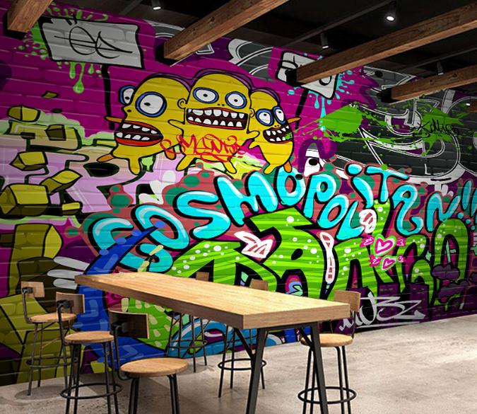 3D Cartoon Graffiti Paint 8 Wallpaper Mural Paper Wall Print Wallpaper Murals UK