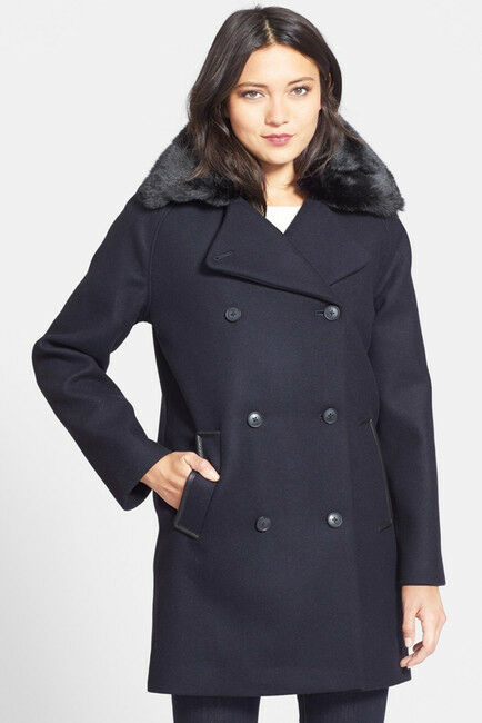NEW Soia & Koy Large Navy bluee Wool Bl Peacoat Quilt Zip Out Lined Leather Trim