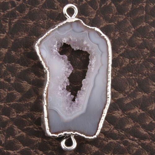 Unique Natural Geode Slice Drusy Silver Plated DIY Necklace Bracelets Connectors
