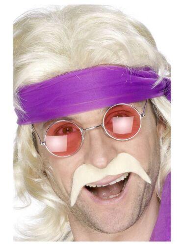 Mens Retro 60/'s 70/'s Peace Fancy Dress Costume Red Hippy Round Glasses Moustache