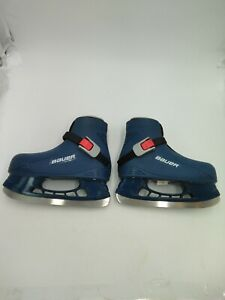 BAUER-Size-10-11-Kids-Ice-Skates-Blue-Red-Hard-Plastic-Youth-Boys-Girls-Y10-11