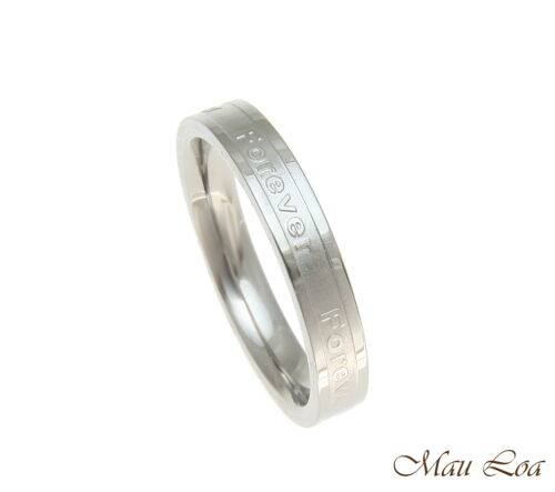 Stainless Steel Ring Wedding Band Forever 3.5mm Silver Color Size 3-10