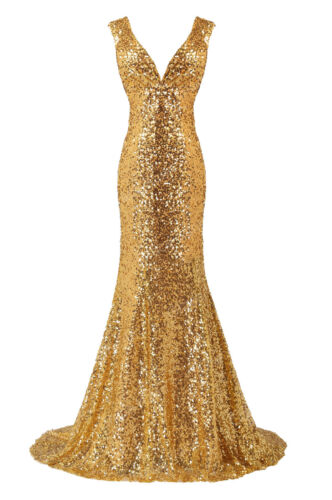 Gold Pailletten Partei Cocktailkleider Abend Brautkleider Brautjungfer Formal
