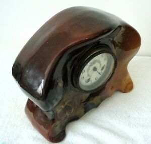Weller-Louwelsa-art-pottery-vintage-mantle-clock-with-hand-painted-floral