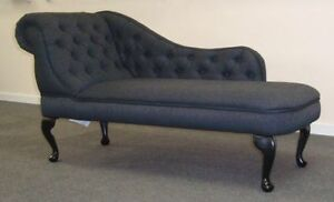 Chaise longue in a charcoal grey linen type fabric new ebay for Chaise longue window seat