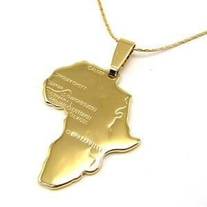 REAL UNIQUE 18K YELLOW GOLD GP 173 PENDANT AFRICA MAP 177